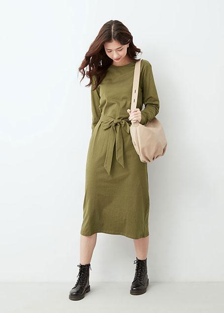 棉質綁帶直筒洋裝