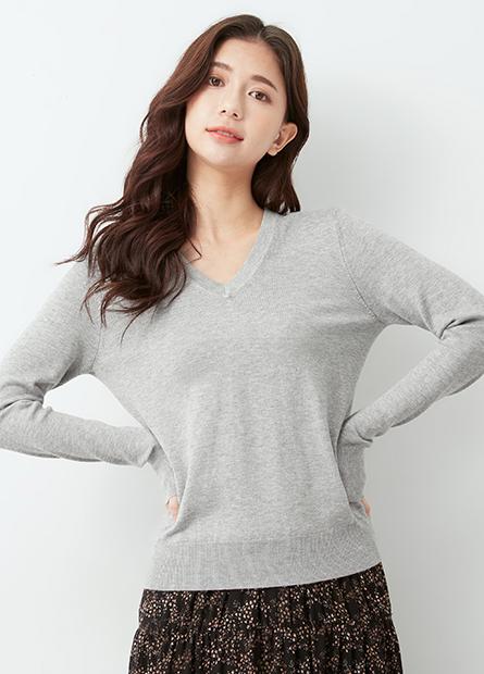 合身V領針織毛衣