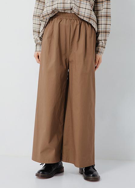 素面寬鬆九分寬褲
