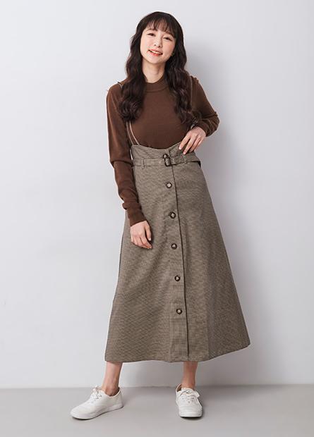 格紋細肩吊帶排釦裙