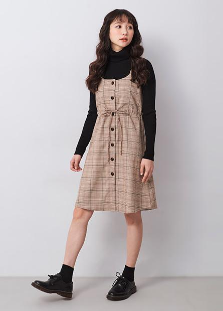格紋抽繩背心洋裝