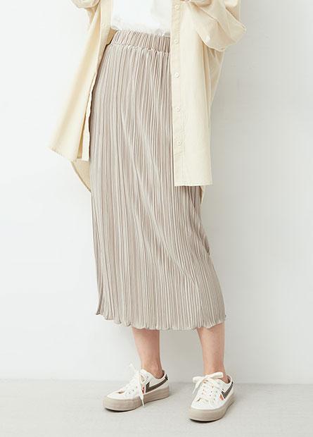 鬆緊腰壓褶長裙