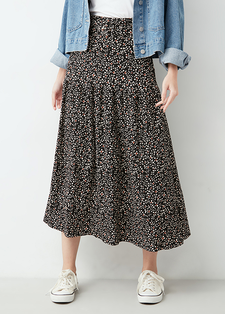 豹紋寬腰帶長裙