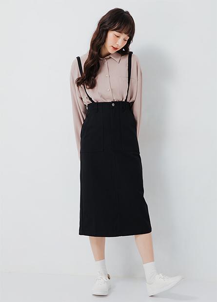 細肩帶斜紋連身裙