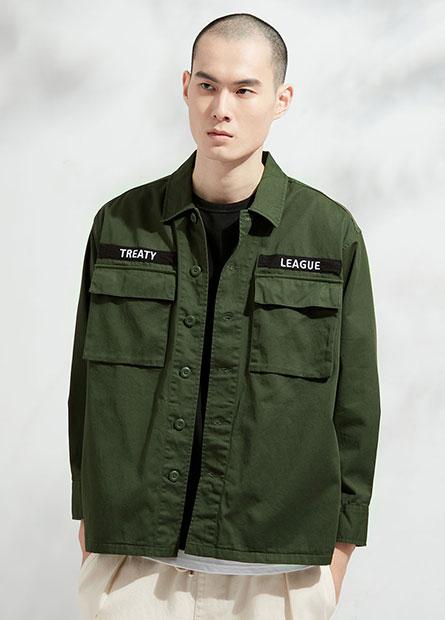 雙口袋織標襯衫外套