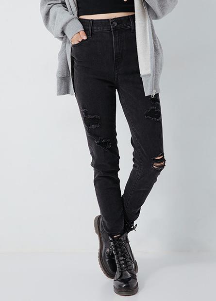 高腰刷破合身牛仔褲