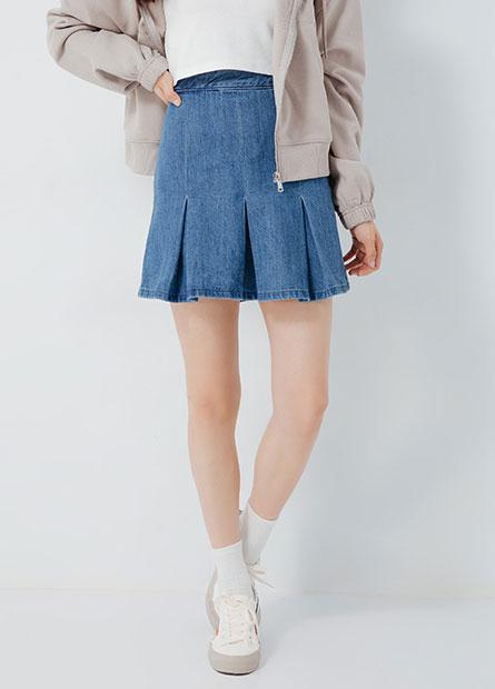 小百褶牛仔短裙