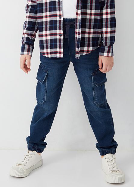 男童工裝束口牛仔褲