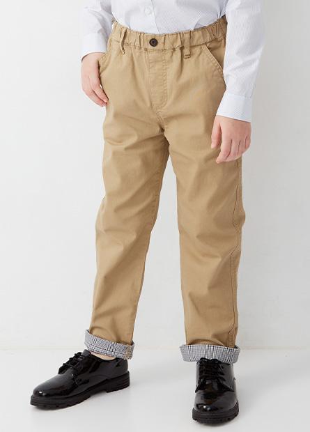 男童Regular Fit反摺長褲