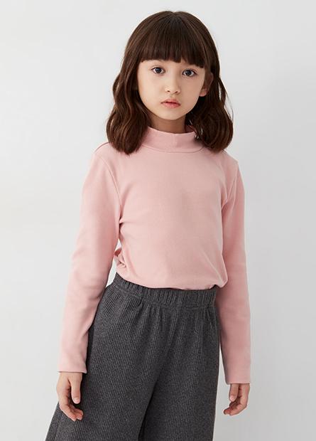 女童素色立領羅紋磨毛長袖T恤