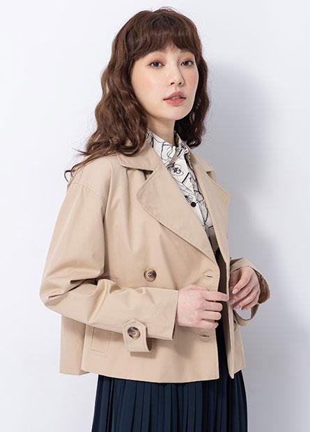 寬鬆短版風衣外套