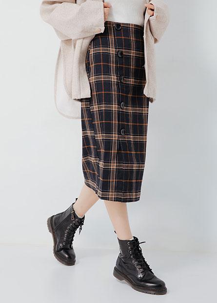 格紋排釦中長裙