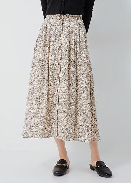 後鬆緊腰排釦中長裙