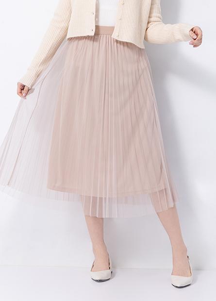 氣質鬆緊壓褶紗裙