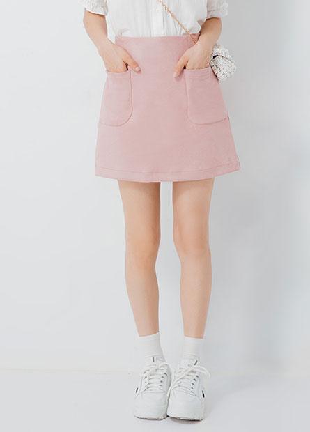 後鬆緊口袋麂皮短裙