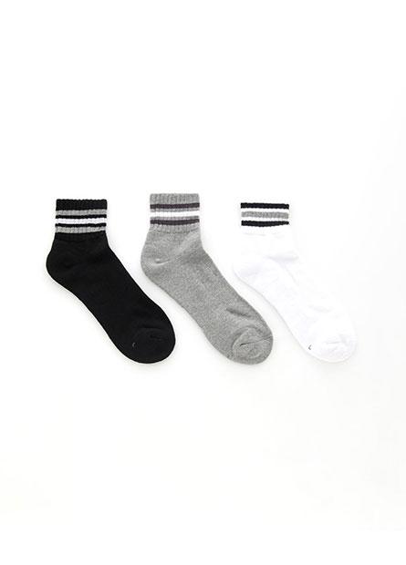 男素面毛巾底短襪(三入)