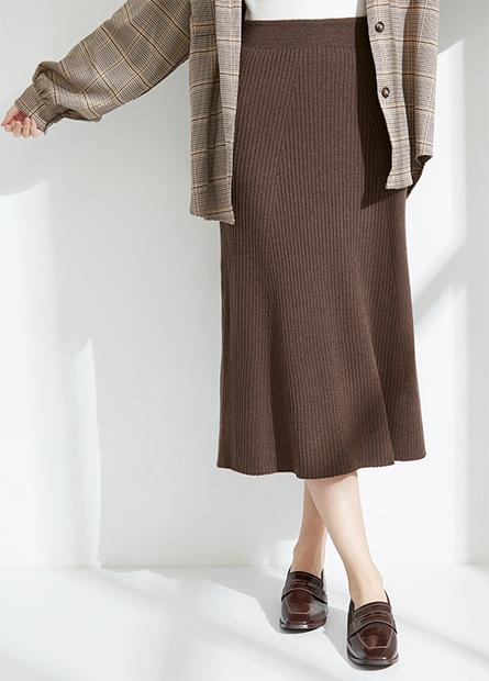 羅紋A字針織長裙