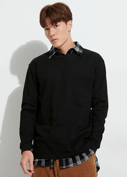 素面單口袋長袖T恤
