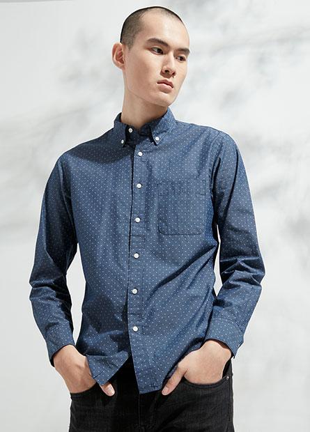 Regular Fit釘釦領長袖襯衫