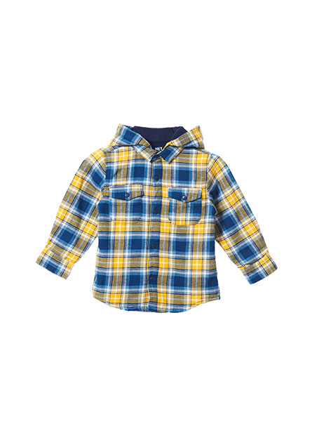 男嬰fleece連帽長袖襯衫