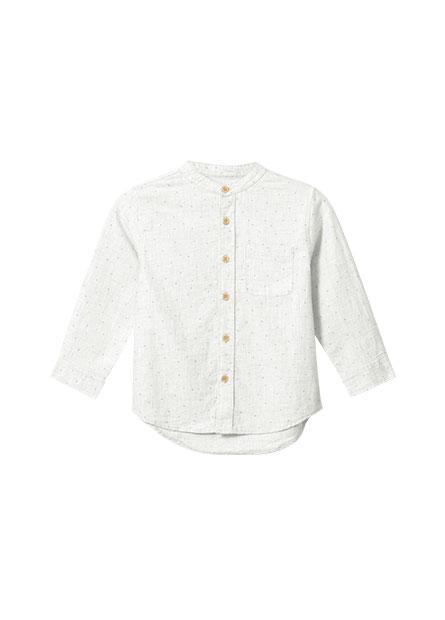 男嬰立領純棉長袖襯衫
