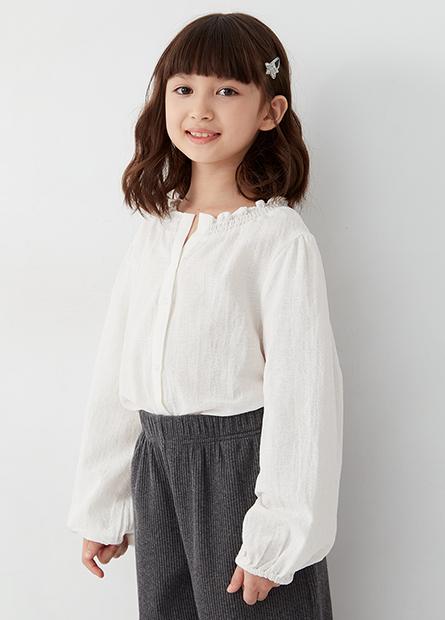 女童荷葉領長袖襯衫