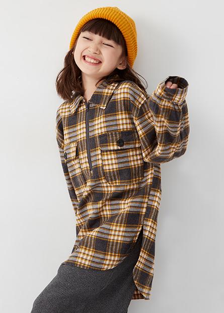 女童襯衫領拉鍊長袖上衣