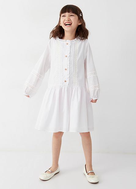 女童氣質鏤空花樣洋裝