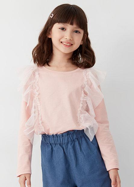 女童透紗荷葉造型上衣