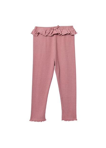 女嬰荷葉羅紋內搭褲