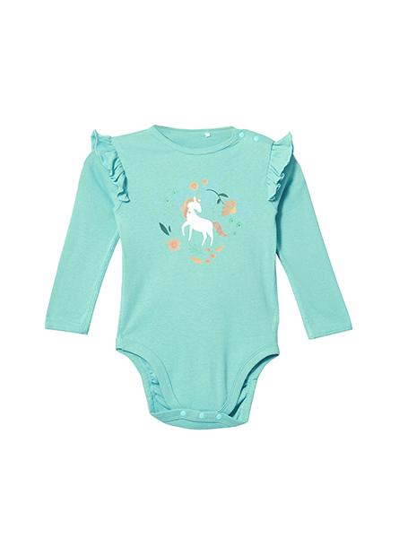 嬰兒荷葉袖印花包臀衣