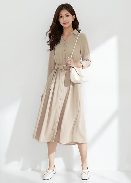 襯衫V領排釦傘擺洋裝