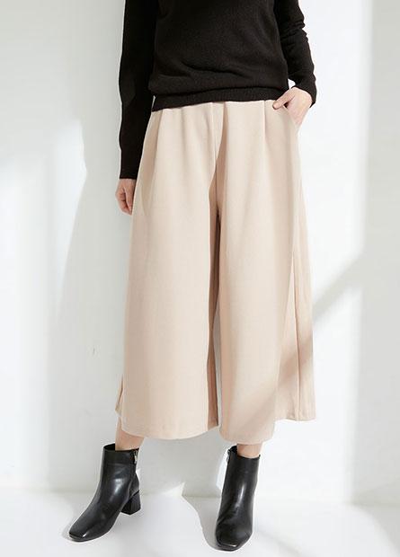 素色鬆緊打褶中長寬褲