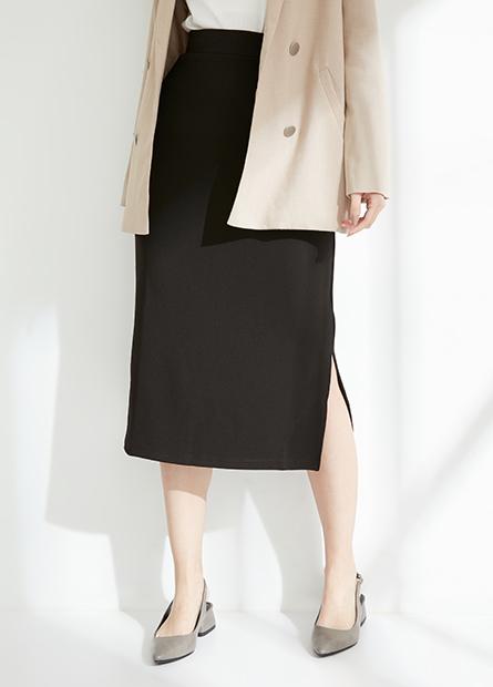 素色鬆緊開衩長裙