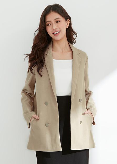 開襟長版西裝外套