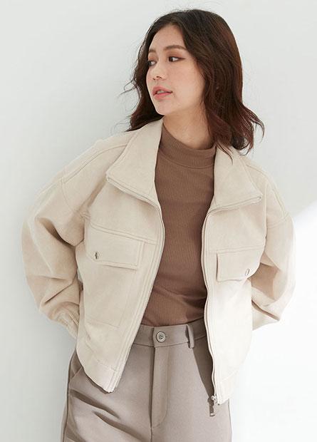 寬鬆立領麂皮外套
