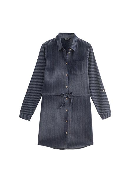 休閒綁帶長版襯衫