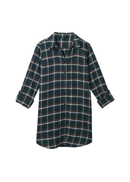 襯衫V領口袋長版襯衫