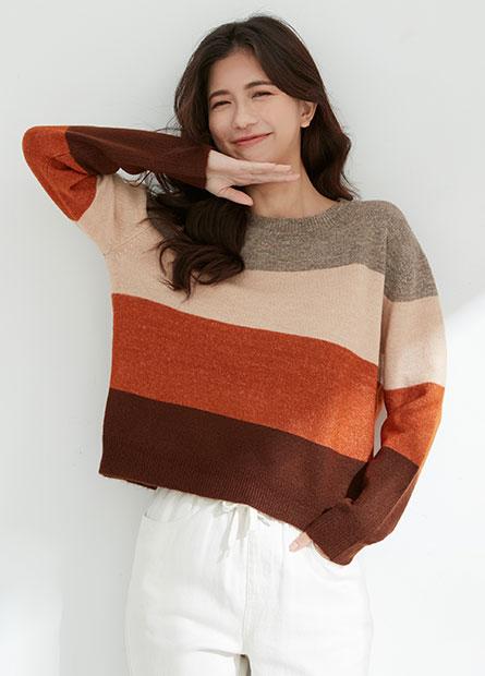 拼色寬鬆短版毛衣