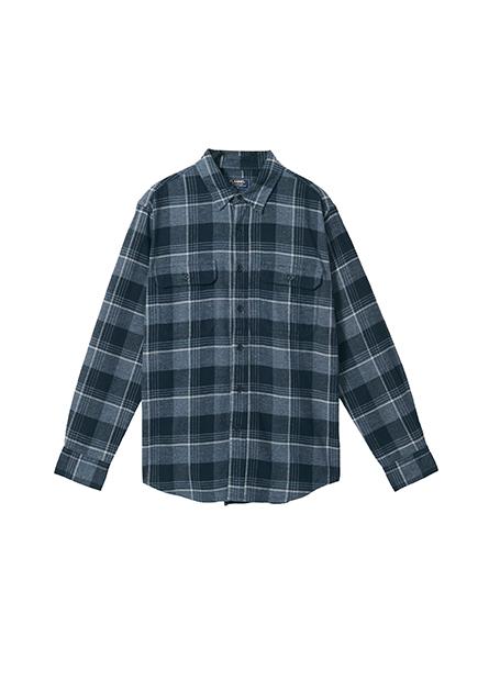 純棉法蘭絨雙口袋襯衫