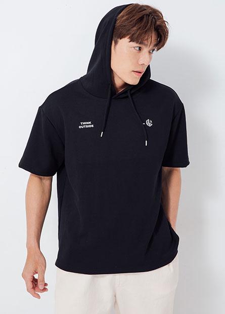 健康布印字短袖連帽T