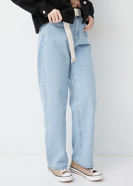 工裝牛仔寬褲(附腰帶)