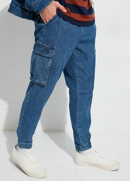 鬆緊綁帶工作束口牛仔褲