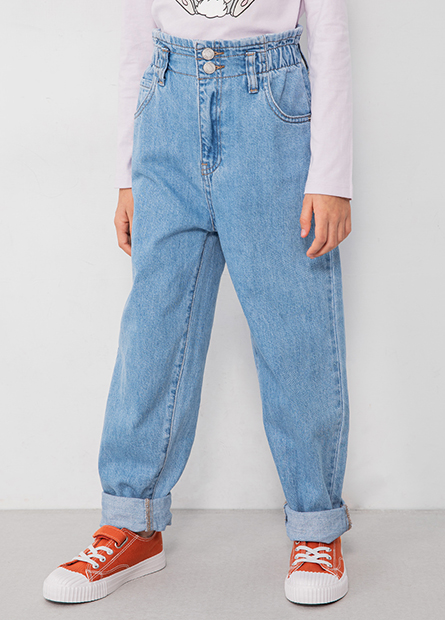 女童排釦錐形牛仔褲
