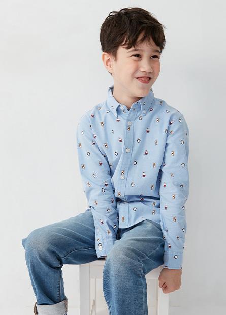 男童聖誕節印花長袖襯衫