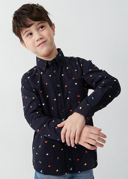 男童釘釦領純棉襯衫
