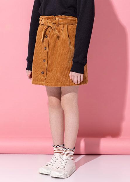 女童燈芯絨排釦綁帶短裙