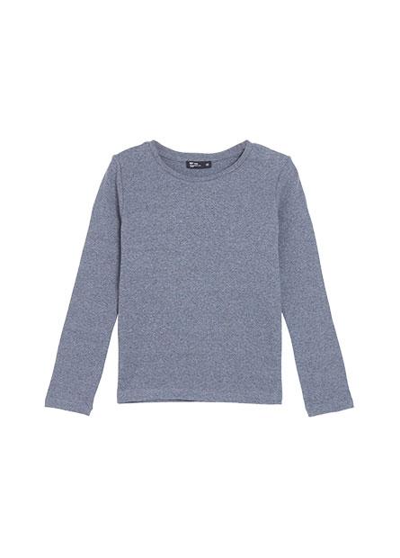 女童素色羅紋磨毛長袖T恤