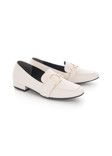 質感金釦低跟樂福鞋