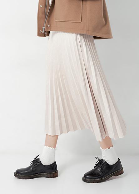 麂皮百褶長裙